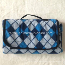 Outdoor Foldable Fleece Picnic Blanket with Handle Strap/Portable