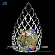 Large Colored Crystal Halloween Pumpkins Crown, Pageant Crown