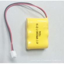 PKCELL Ni-CD 2 / 3AA 300mAh Bateria recarregável de 3,6V com ficha e fio