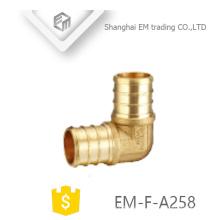 EM-F-A258 Fontanería de latón adaptador de codo de unión circular de diente redondo de 90 grados