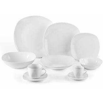 Porcelaine rond carré White Dinner Set
