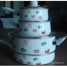 4pcs enamel cooking set including two strait pot and two sacue pan with bakelite handle