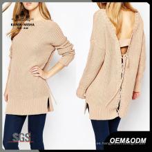 Suéter suelto básico con espalda descubierta para mujer