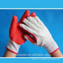Gants tricotés en coton blanc blanchi à calibre 10 recouverts de gomme en caoutchouc