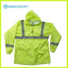 Fluorescence Color Waterproof Nylon PU Rain Jacket with Reflective