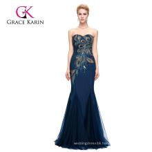 Grace Karin Full-Length Strapless Sweetheart Navy Blue Mermaid Peacock Prom Dress 2016 GK000080-4