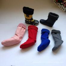 Moda e Hot Sale em Inverno Rain Boot meias, Fleece Welly Meias com malha de malha