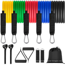 Custom Logo 150 Lbs Stackable 11 PCS Resistance Bands Set, Home Workout Gym Fitness Elastic Exercise Resistance Band
