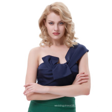 Belle Poque Sexy Womens Asymmetrical One Shoulder Big Bow-Tie Decorated Cropped Navy Tops BP000343-3