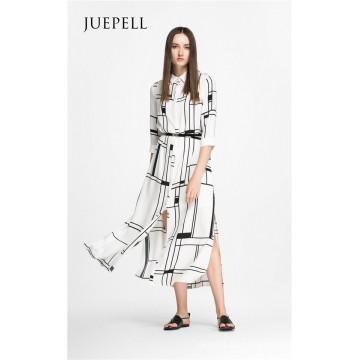 Quadratisches Print Fashion Shirt Damen Kleid