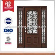Puerta de madera de caoba de rejilla de hierro con sidelites