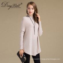 Pull en laine à col haut tricoté à la main pour les jeunes femmes
