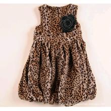 girls party woolen dress for winter leopard princess fashion dress for kid
