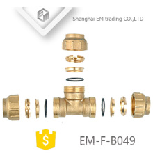 EM-F-B049 Brass 3 way Compression Pipe For Spain Copper Tee PEX Fitting