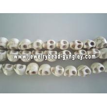 Howlite skull beads - white