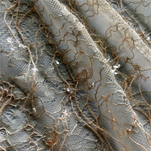 Fringe Transparent Sequin Embroidery On Lace Fabric