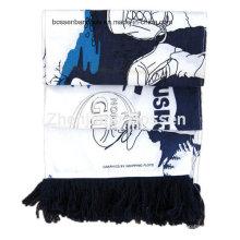 Custom Made Logo Impresso Algodão Longo Promocionais Match Cheering Headband Football Scarf
