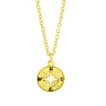 Gros collier de charme de boussole en alliage d'or fait à la main en Chine