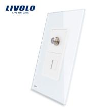 Prise de téléphone et satellite US rj11 de Livolo avec des prises de courant murales en verre cristal blanc perlé VL-C591STT-11