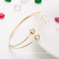 Western Style Fashion jewellery New Design Brass Bangle Crystal and Pearl Bangle