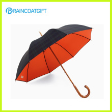 Fashion Design Rain Umbrella with Wooden Hook Handle