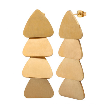 European Style Retro 18k Gold Plated  Stainless Steel Triangle Long Drop Earrings