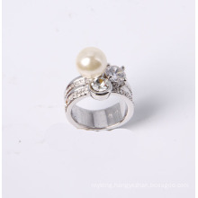 Fashion Jewelry Ring Rhodium Plated with Rhinestone CZ Stone and Acrylic Pearl
