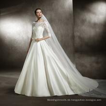Spitze-Mieder-volle Hülsen-Satin-Hochzeits-Kleid