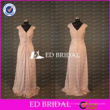ED Bridal Elegant Cap Sleeve V Neck Long A Line Taffeta Peach Mère de la robe de mariée 2017