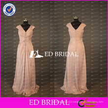 ED Bridal Elegant Cap Sleeve V Neck Long A Line Taffeta Peach Mother Of The Bride Dress 2017