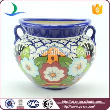 YSfp0010-02 Handprint cerámica moderna flor olla con mango de oído