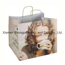 Luxury Printed Twisted Handle Kraft Paper Bag with 250mm Gusset