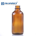 Bouteille de stockage en verre ronde Boston Amber de 120 ml avec bouchon en plastique