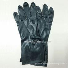 Gants de travail à la main chimiques chimiques à néoprène noir