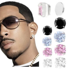 Bling Round CZ Gem Magnetic Ear Stud