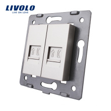 Accessoire pour prise murale Livolo gris, prise téléphonique pour 2 prises RJ11 VL-C7-2T-15