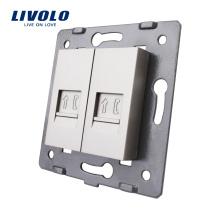 Производство Livolo Серая настенная розетка Аксессуар 2-контактная телефонная розетка RJ11 / Розетка VL-C7-2T-15