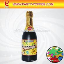 Champagner-Konfetti-Kanone mit bunten metallischen Folien-Sternen
