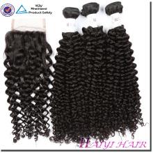 Neue Ankunft New Type Eurasian Verworrenes Lockiges Haar Weben Mit Spitze Schließung Gebleichte Knoten Freien Stil