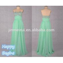 Sweetheart elegant floor-length long beaded chiffon Mint Evening Dress 2014