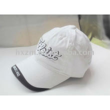 White baseball cap/sport cap with 3D embroidery in good quality