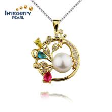 9mm AAA botón oro plateado perla de agua dulce de plata