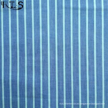 Tejido de popelín de algodón hilado teñido de tela para prendas de vestir camisas/vestido Rls40-3po