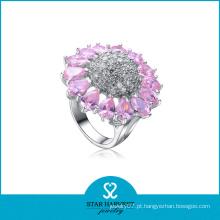 Traje branco e rosa anel de prata cz para mulheres (sh-r0054)