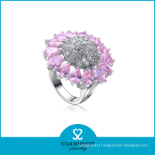 Pink Flower Shaped Crystal Silver Ring (SH-R-0054)