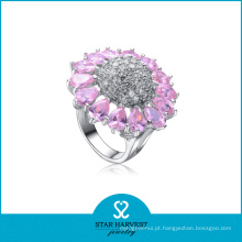 Rosa flor em forma de anel de prata de cristal (sh-r-0054)