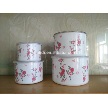 4PCS Enamel Red Rose Decal Storage Bowl Carbon Steel Can