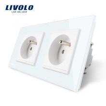 Prise française double standard Livolo avec panneau en verre cristal blanc, prise de courant 220 ~ 250V 16A VL-C7C2FR-11