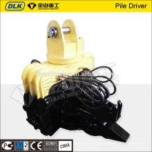 Excavator pile driving equipment, hydraulic vibratory pile hammer