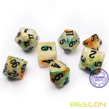 Bescon Magical Stone Dice Set Series, 7pcs Polyhedral RPG Dice Set Gold Ore, Tinbox Set